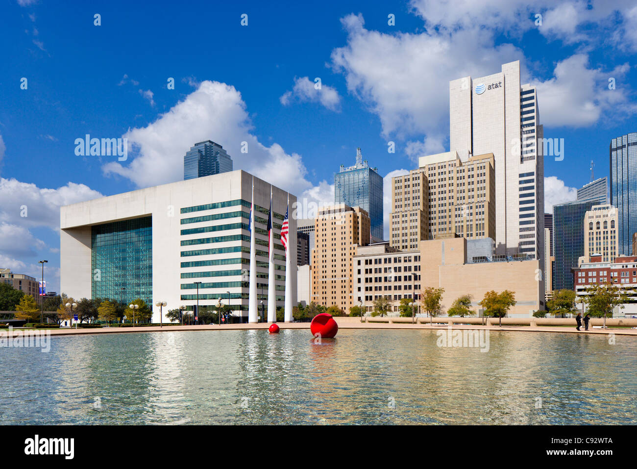 The city skyline from outside City Hall, City Hall Plaza, Dallas, Texas, USA - Stock Image