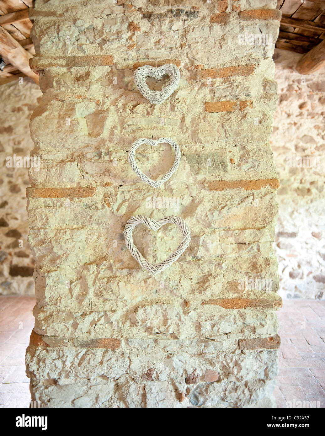 The heart is the internationally recognised symbol of love and is traditionally used the worl over to decorate wedding - Stock Image