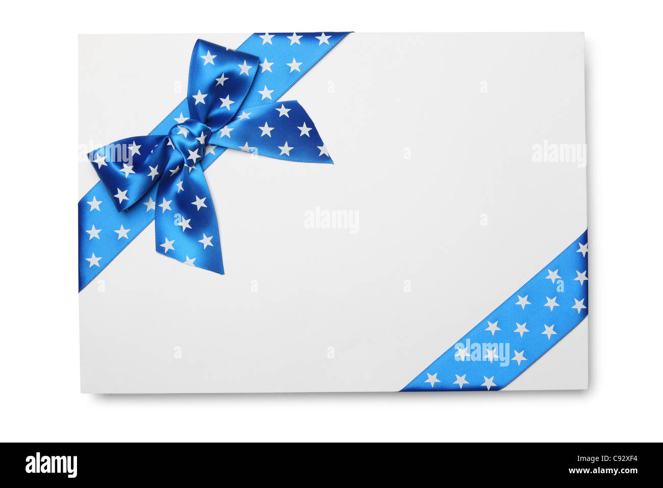 Blank card with blue ribbon bow - Stock Image