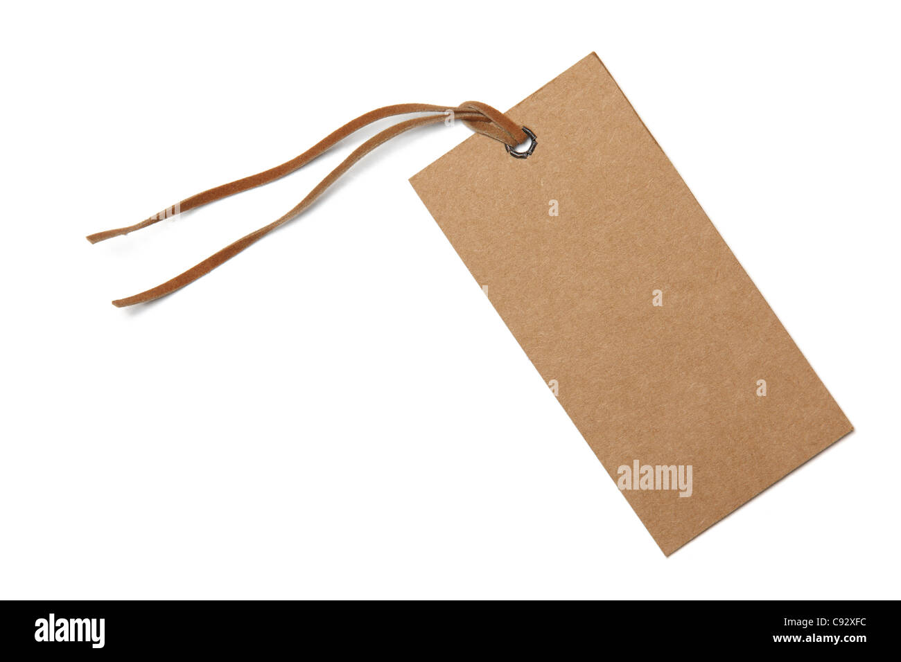 Price tag or address label with string isolated on white. - Stock Image