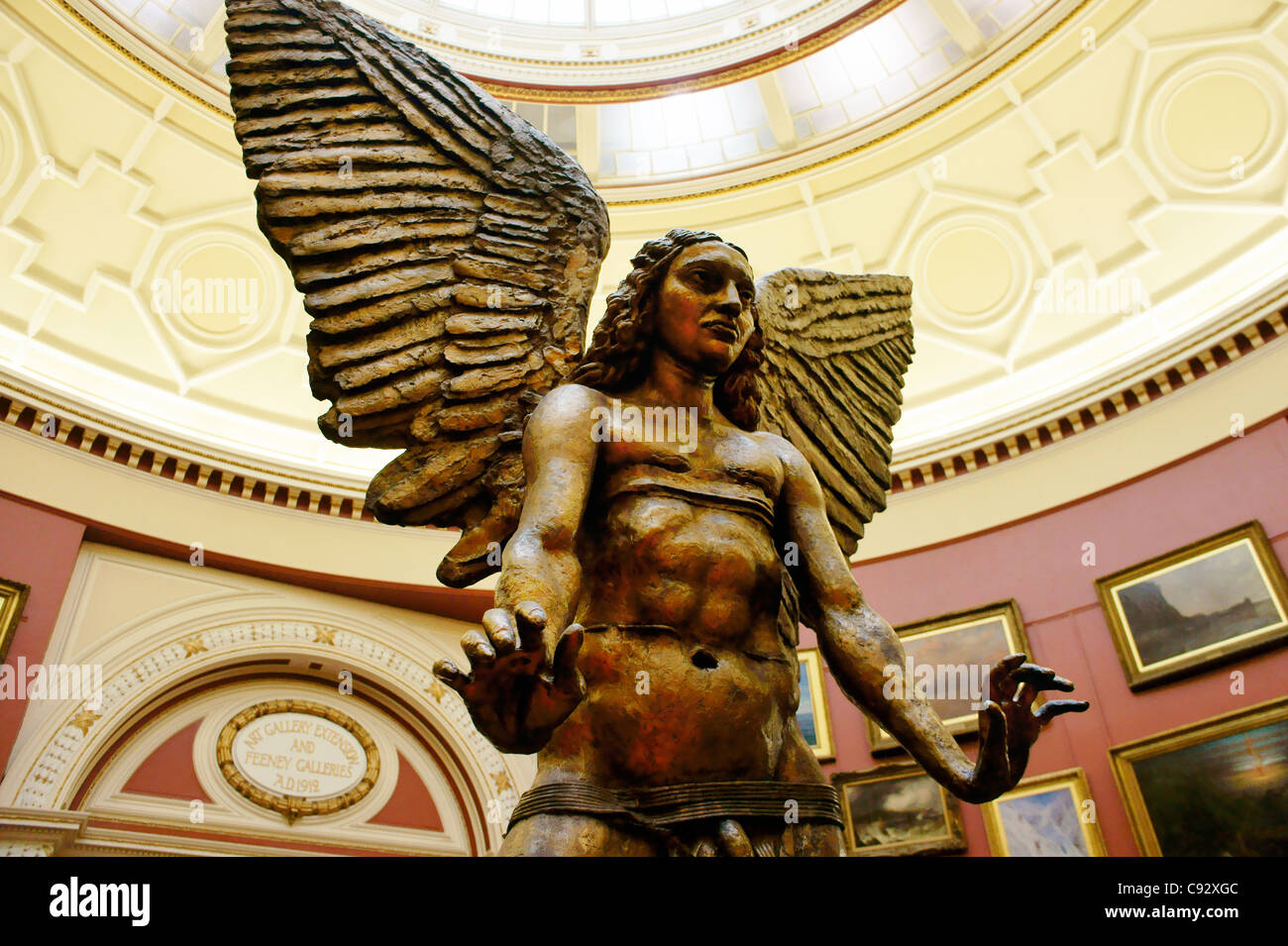 The Archangel Lucifer bronze statue by sculptor Sir Jacob Epstein in the round gallery of Birmingham Museum and - Stock Image