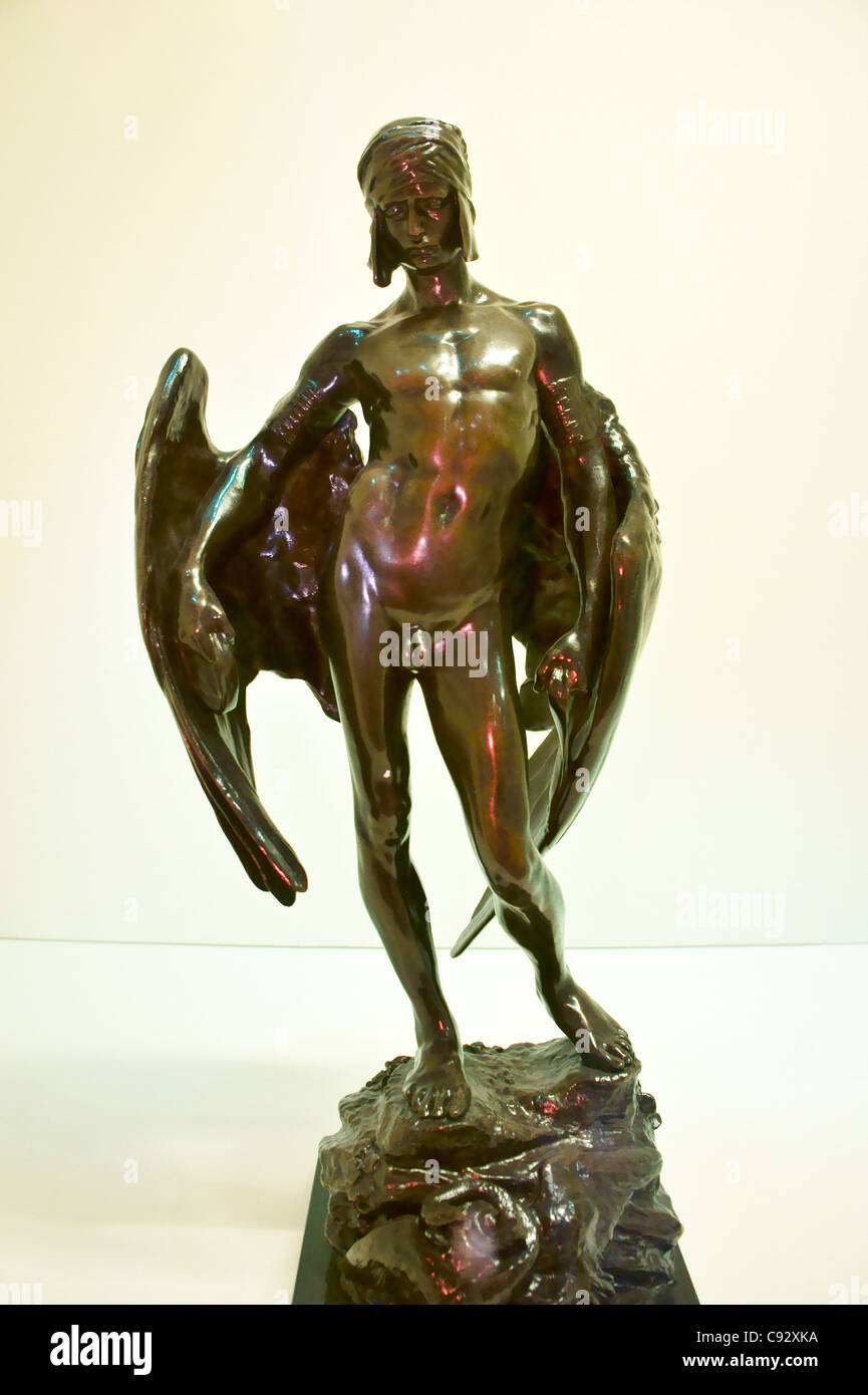 Bronze of Icarus by Sir Alfred Gilbert, 1884. Birmingham Museum and Art Gallery. UK - Stock Image