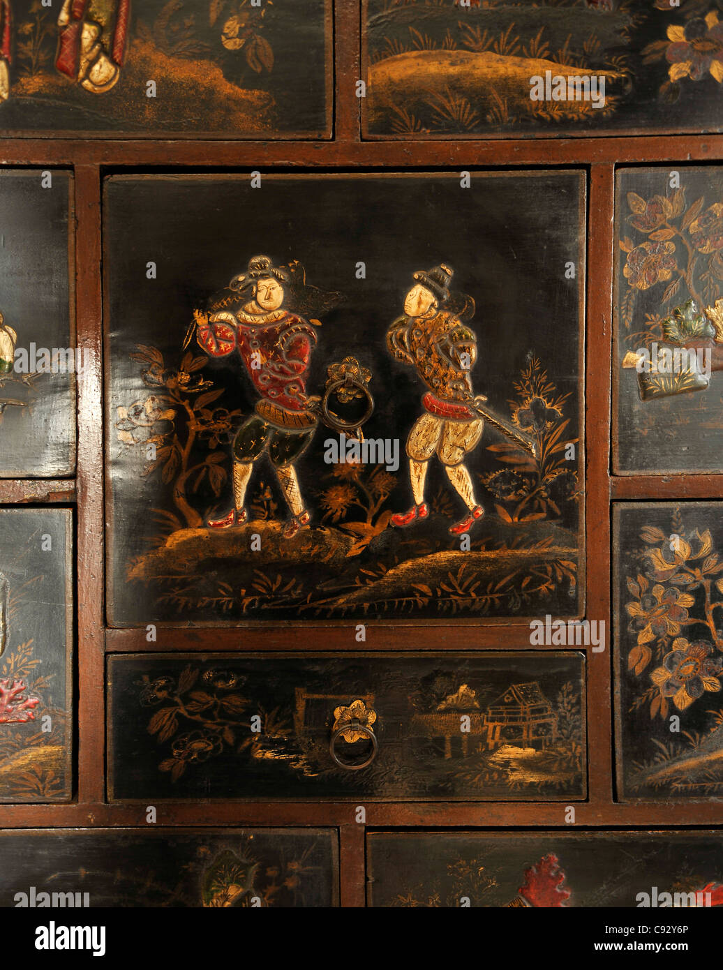 Antique Asian furniture is often elaborately gilded and lacquered with  intricate designs and symbolic emblems. - Antique Asian Furniture Is Often Elaborately Gilded And Lacquered