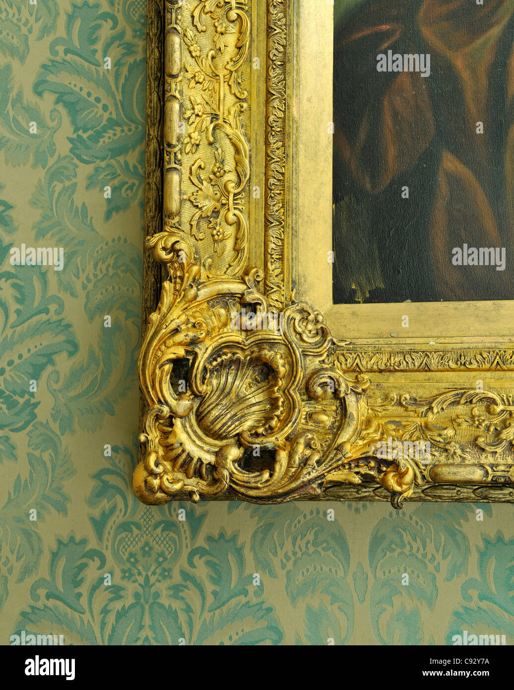 Picture frames in historic houses are sometimes as valuable and important as the artworks they contain and reflect - Stock Image