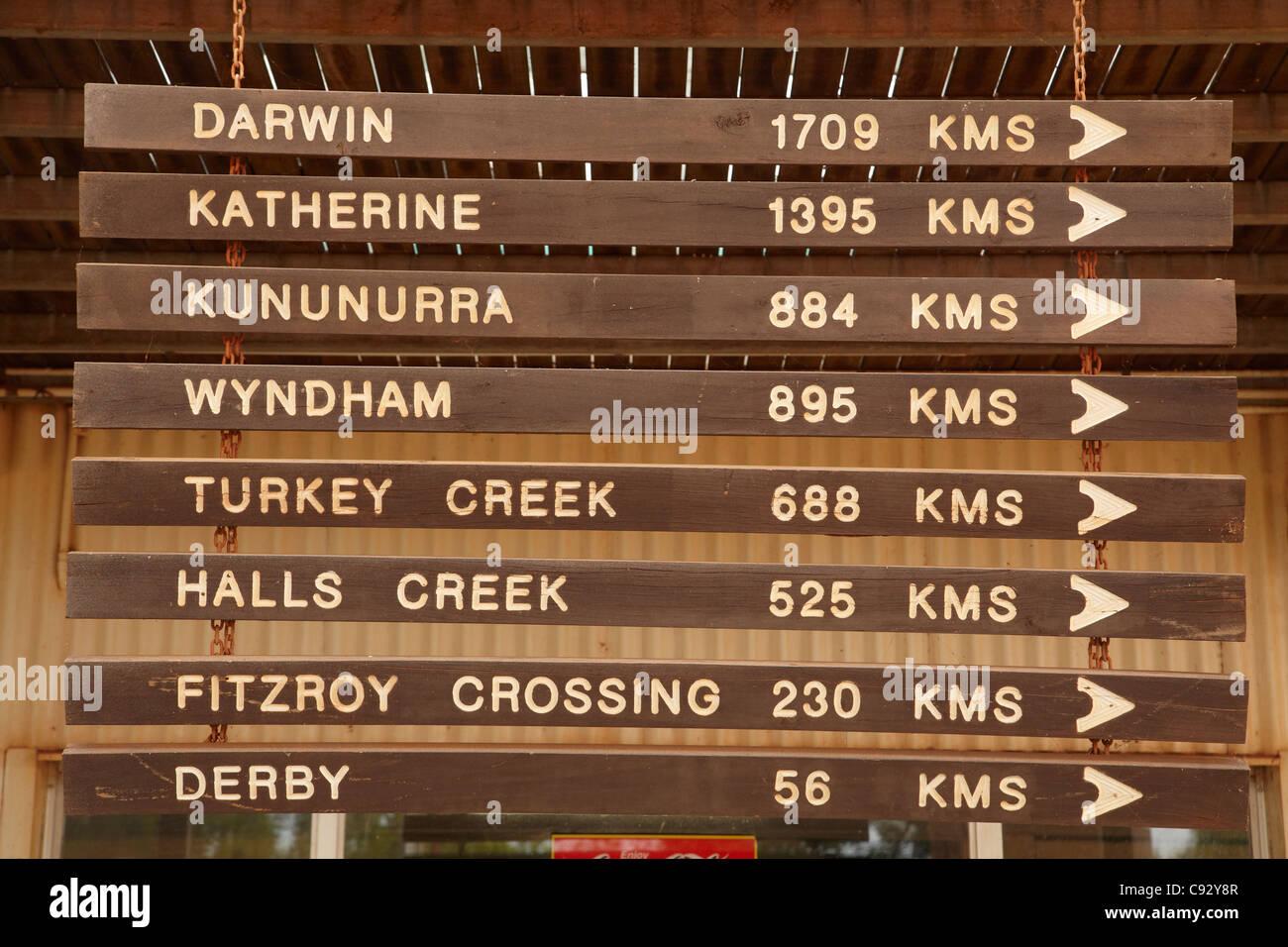 Distance signs, Willare Bridge Roadhouse, Great Northern Highway, Kimberley Region, Western Australia, Australia Stock Photo