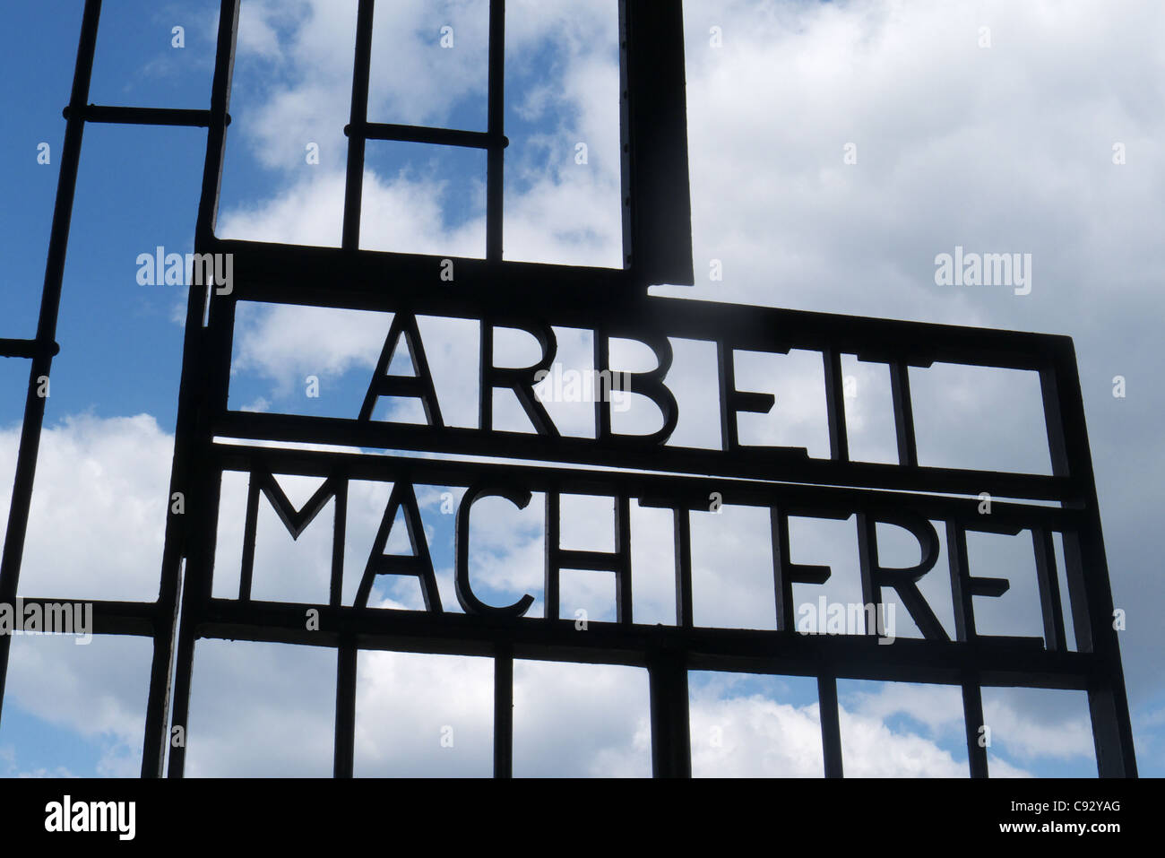 The Arbeit Macht Frei sign at the entrance to Sachsenhausen concentration camp near Berlin in Germany - Stock Image