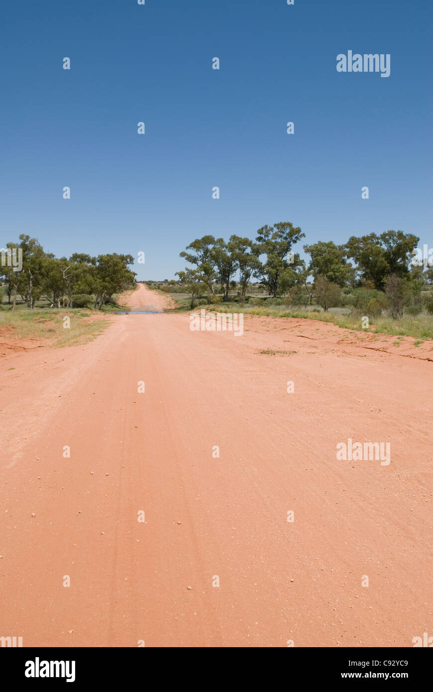 Many unsealed roads connect the remoter settlements of the region of Central Australia the most sparsely populated - Stock Image