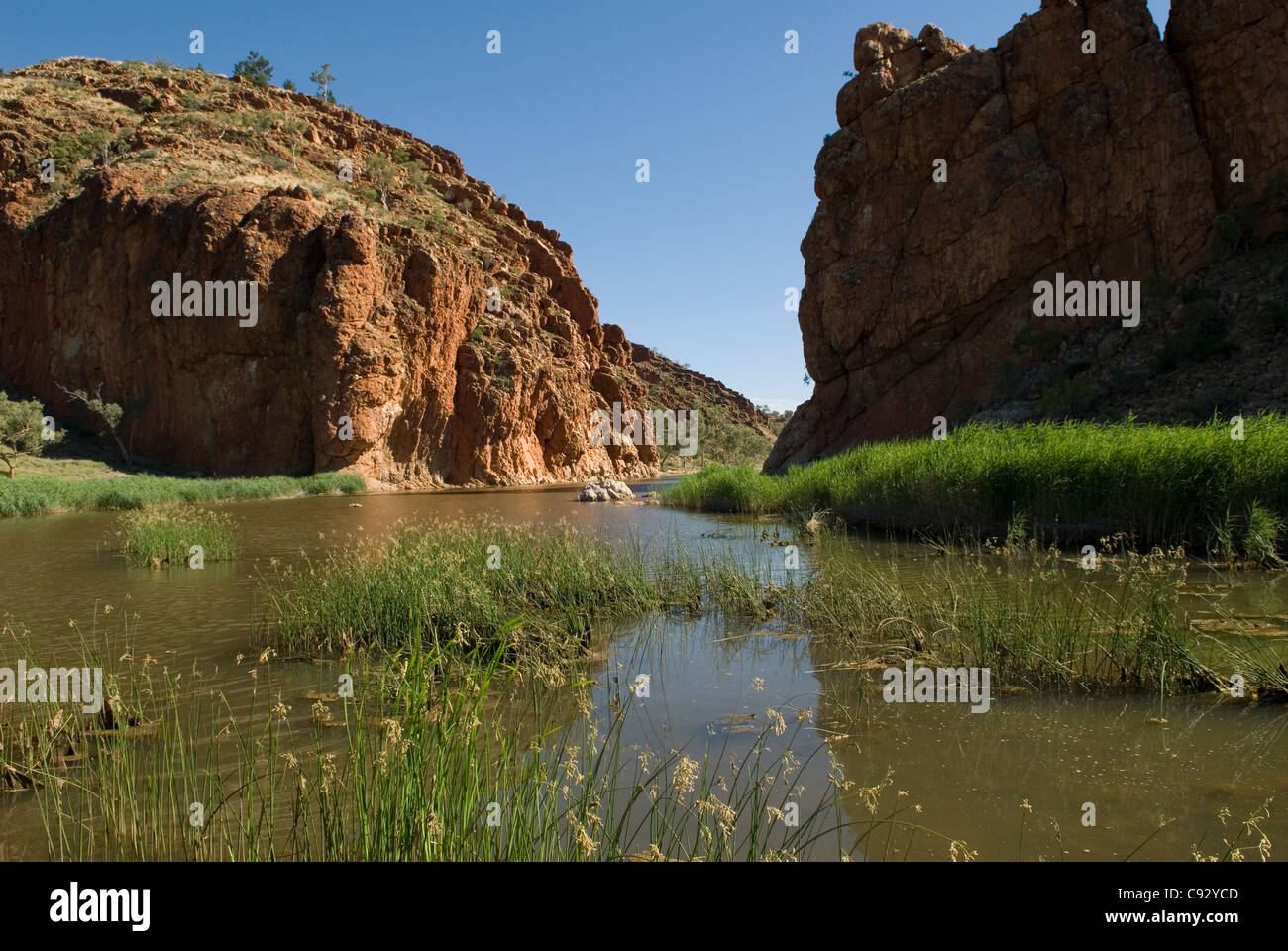 The Glen Helen Gorge is where the Finke River parts the West MacDonnell Ranges. - Stock Image