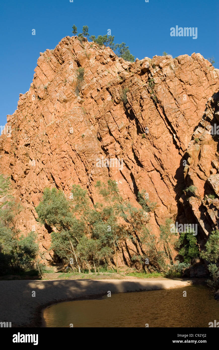 Emily Gap is a break in the Heavitree Range in the East MacDonnell Ranges which are important spiritual sites to - Stock Image