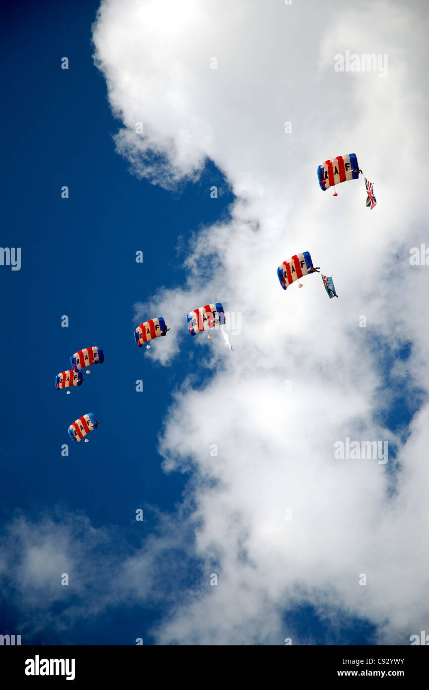 Northumberland County Show at Corbridge. RAF parachuting demonstration by a team of seven airmen. - Stock Image