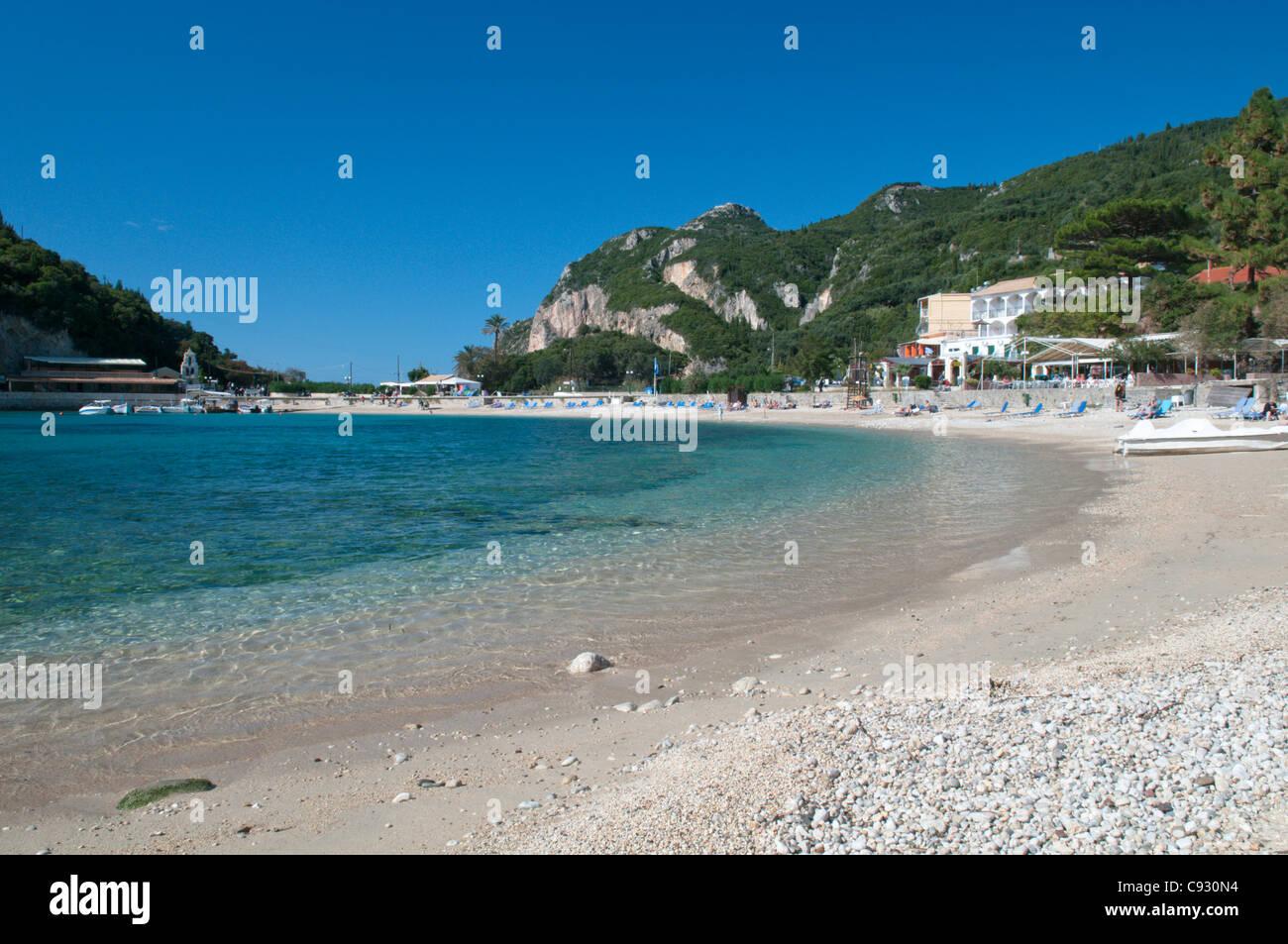 Paleokastritsa also spelt Palaiokastritsa is a resort town on the coast of Corfu island on the Ionian sea coast Stock Photo