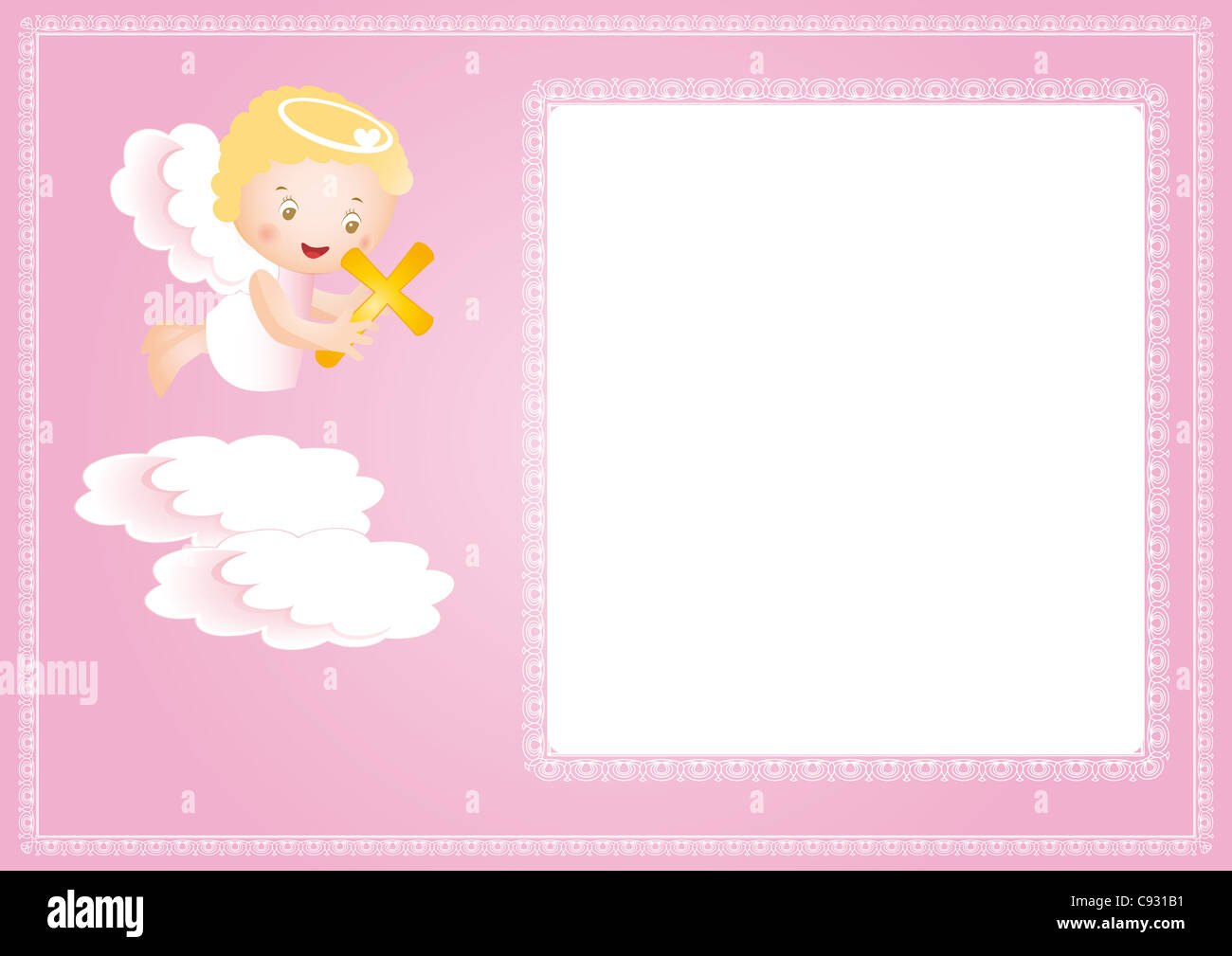 Baby baptism frame with small angel Stock Photo: 40019589 - Alamy