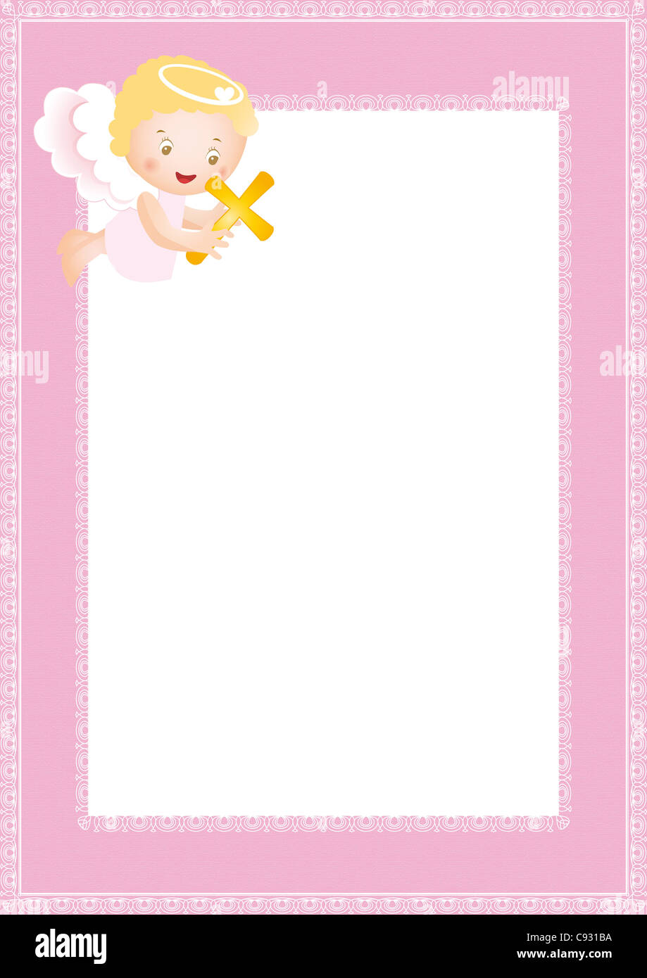 Baby baptism frame with small angel Stock Photo: 40019598 - Alamy