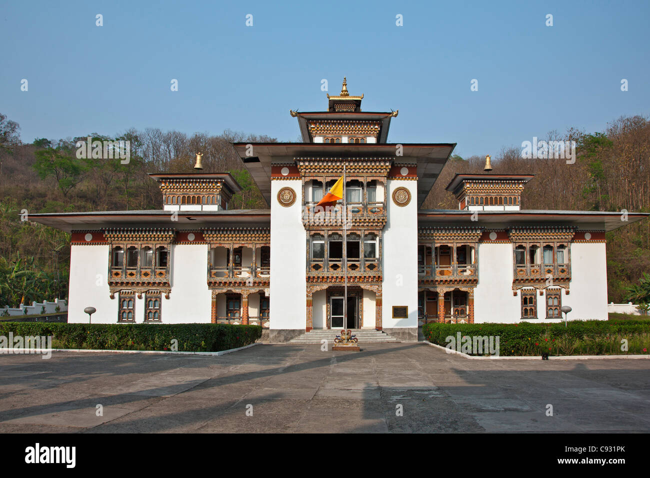 The Royal Court of Justice at Samdrup Jongkhar, a new building built in the attractive traditional Bhutanese architectural - Stock Image