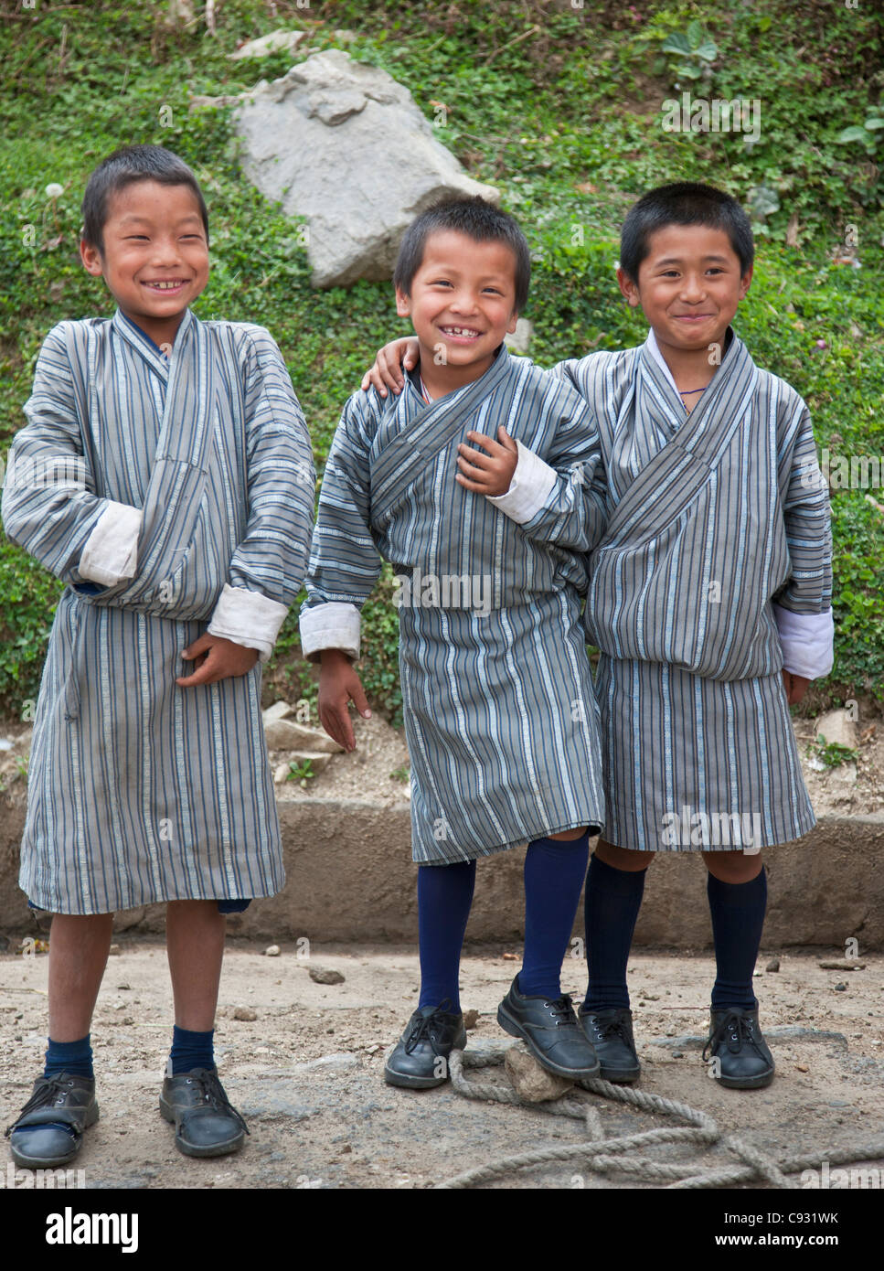 Happy school children in Mongar, a small hilltop town in East Bhutan. - Stock Image