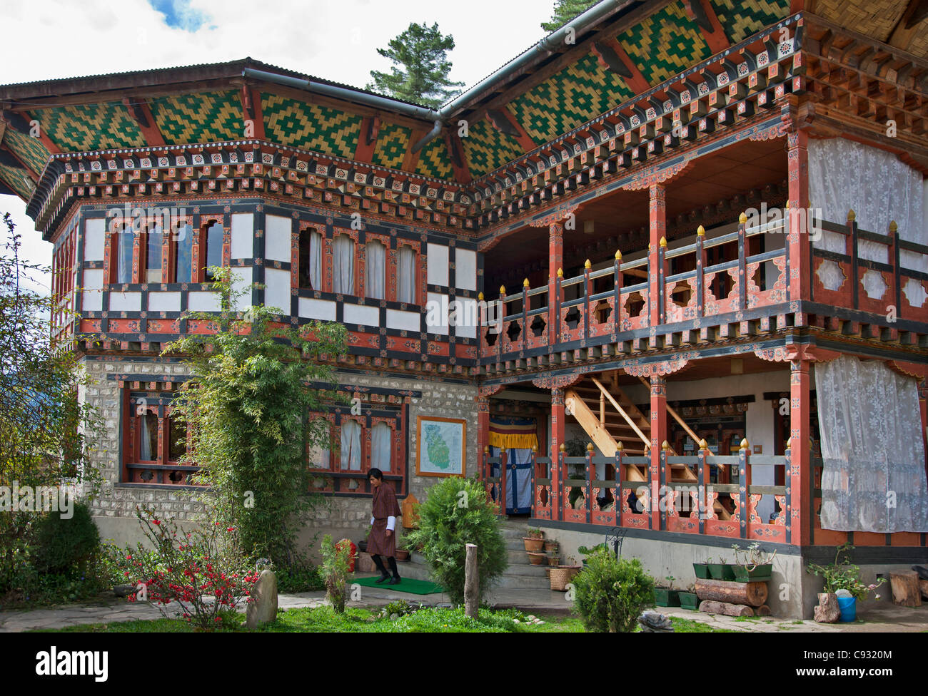 The typical Bhutanese architectural style of Mountain Lodge, a pleasant tourist hotel on the outskirts of Jakar. - Stock Image