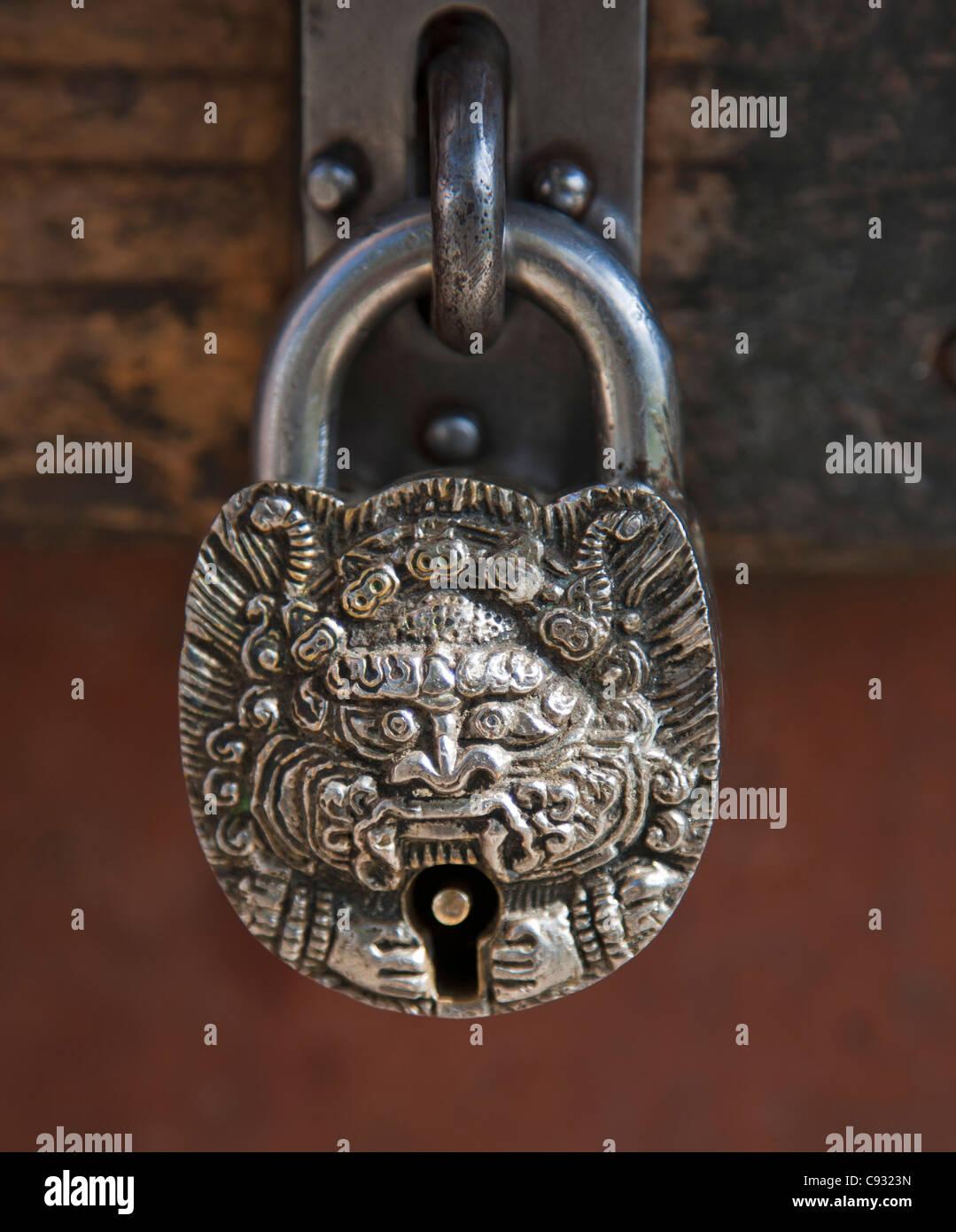An ornate Bhutanese padlock. - Stock Image