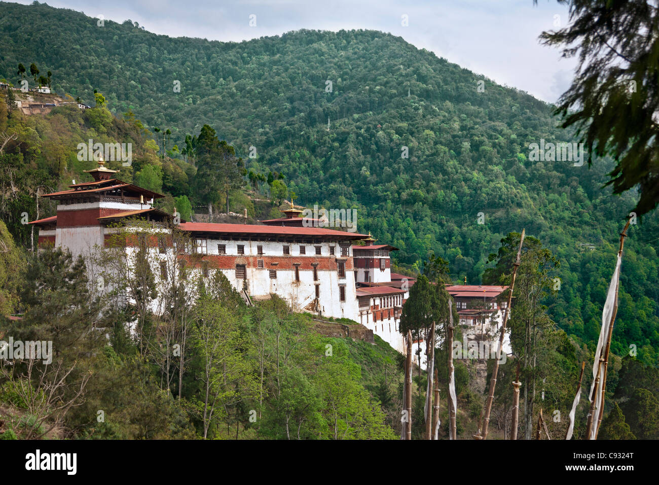 The Trongsa Dzong, or fortress, was built in the 1640s. - Stock Image