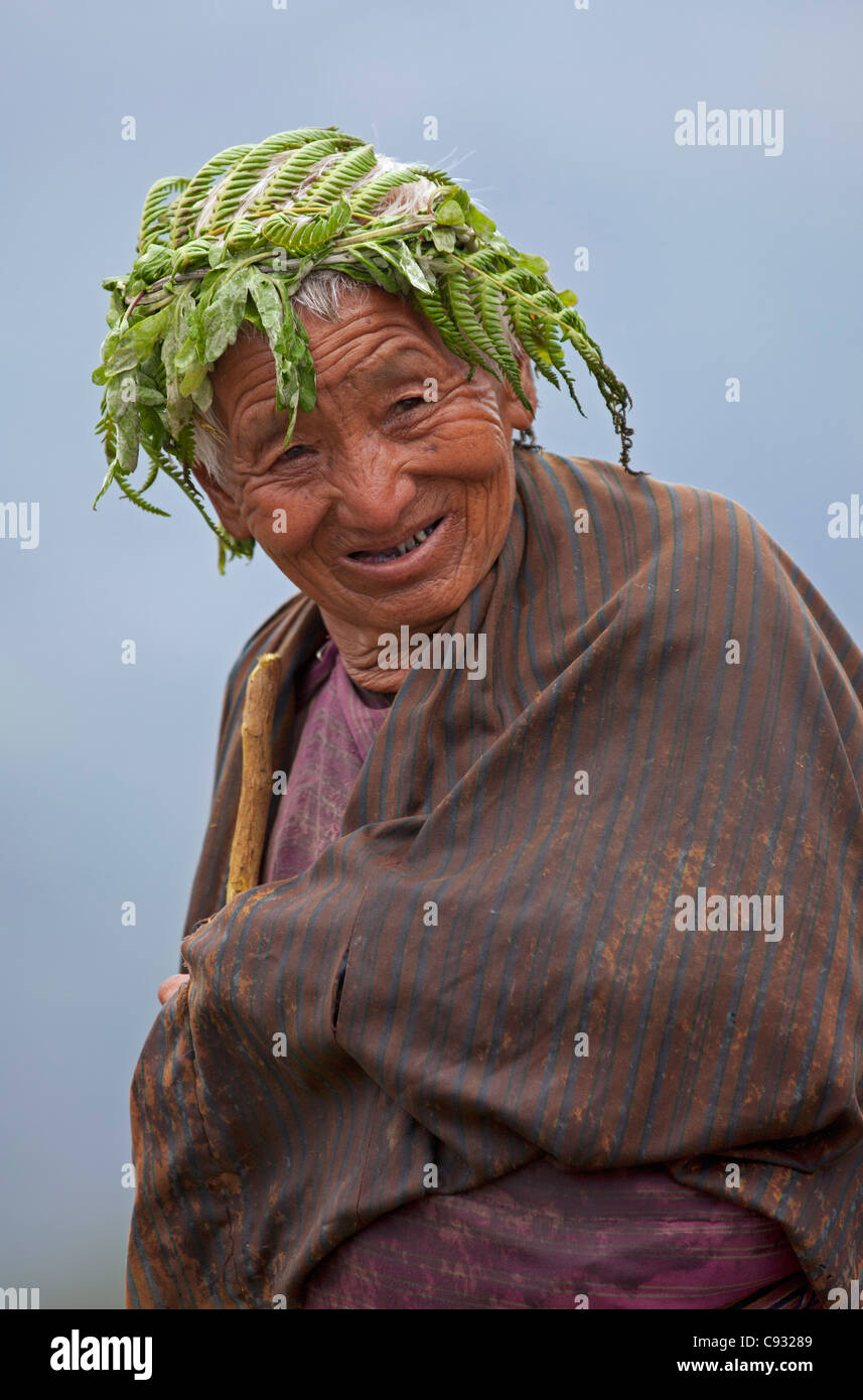 An old woman has put bracken over her hair to ward off the worst of a shower of summer rain. - Stock Image
