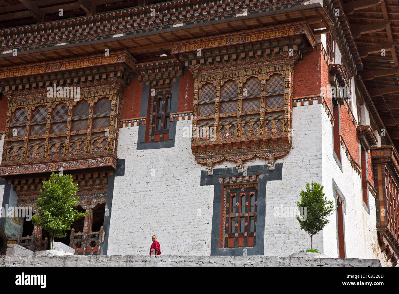 The striking interior of the massive Trongsa Dzong, or fortress, which was built in the 1640s. - Stock Image