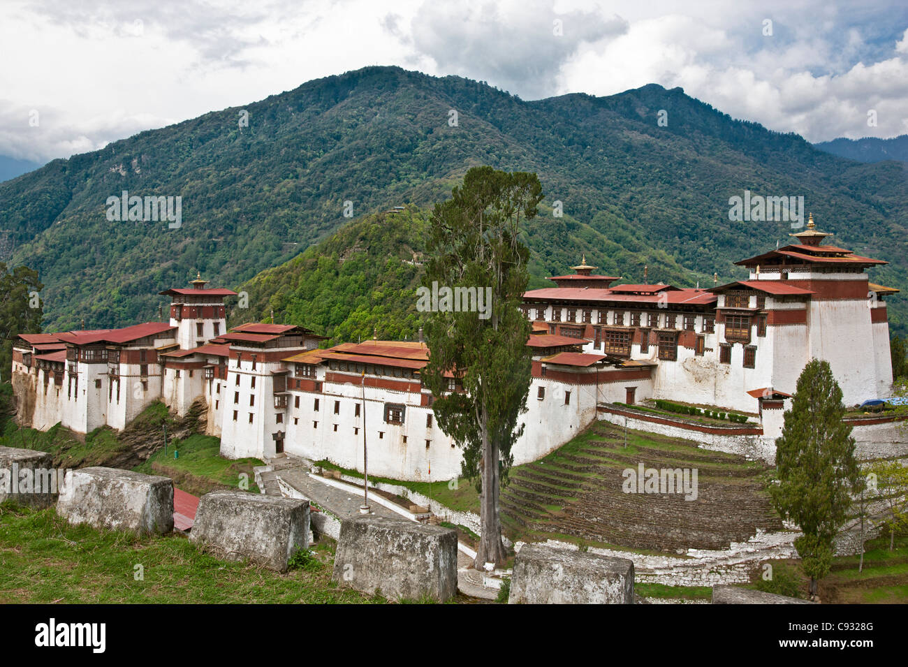 The massive Trongsa Dzong, or fortress, was built in the 1640s. - Stock Image