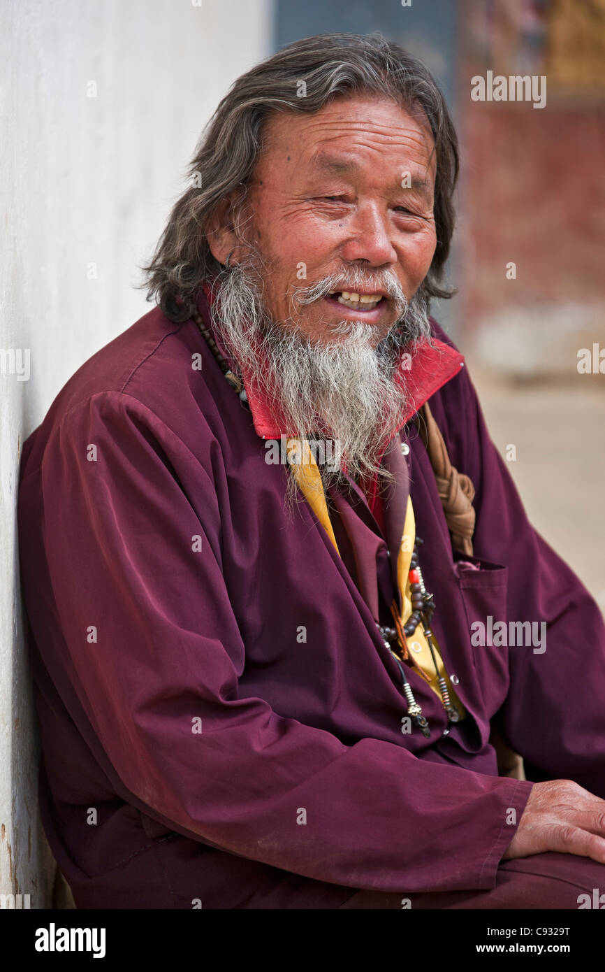 A Buddhist holy man at Gangte Goemba monastery which was founded in 1613 at the head of the Phobjikha Valley. - Stock Image