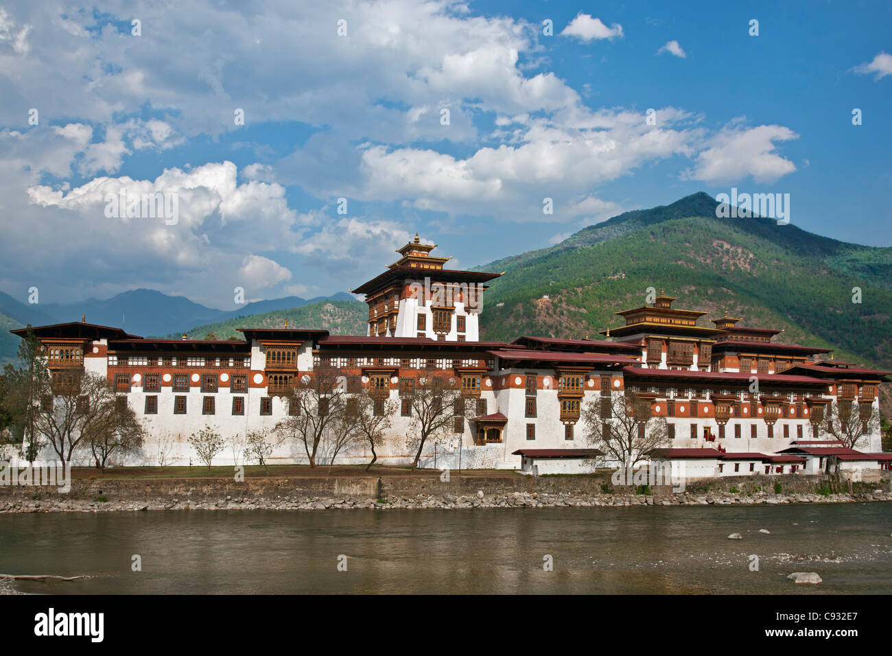The 17th century Punakha Dzong is the second oldest and second largest dzong in Bhutan. - Stock Image