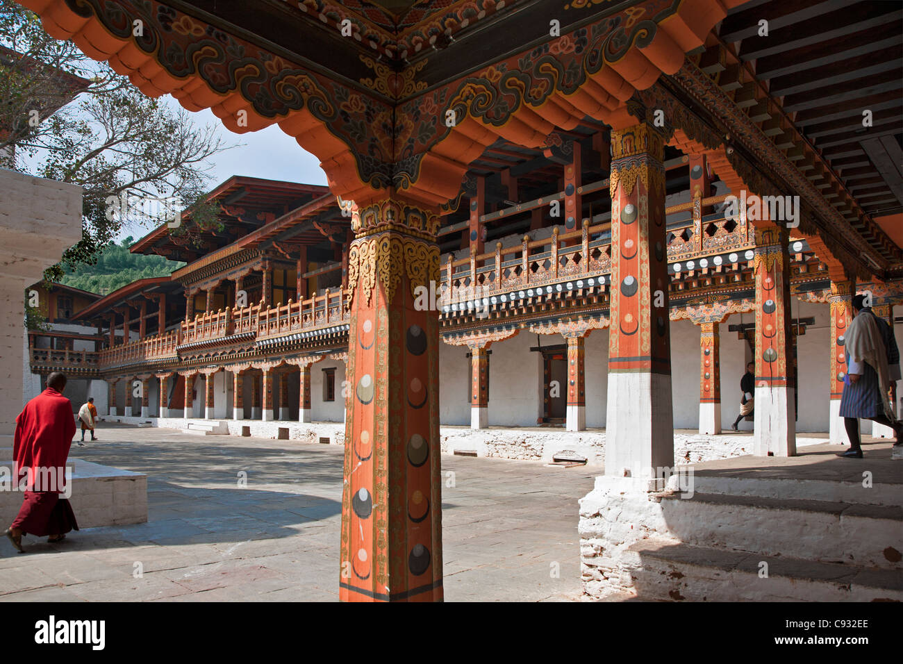Magnificent old buildings enclose a courtyard in the Punakha Dzong, is the second oldest and largest dzong in Bhutan. - Stock Image