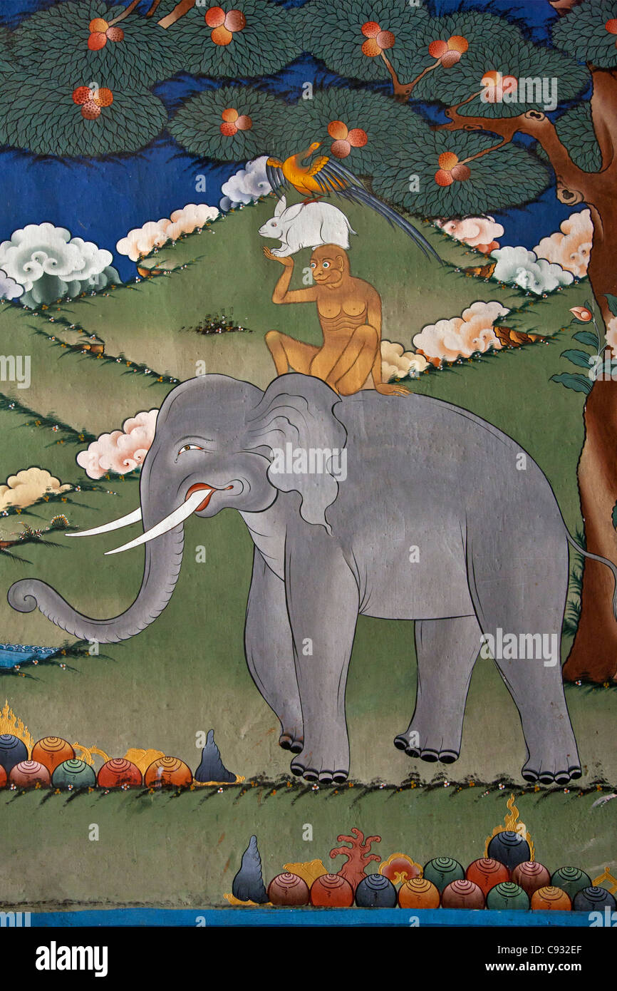 This mural is common to many monasteries and tells the story of co-operation amongst Buddha and his three disciples. - Stock Image