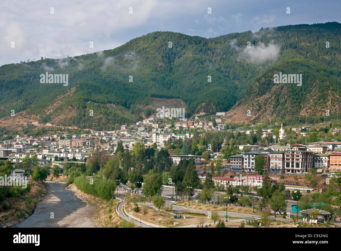 Lying at an altitude of over 2,200 metres and surrounded by mountains, Thimphu is the capital city of Bhutan. - Stock Image