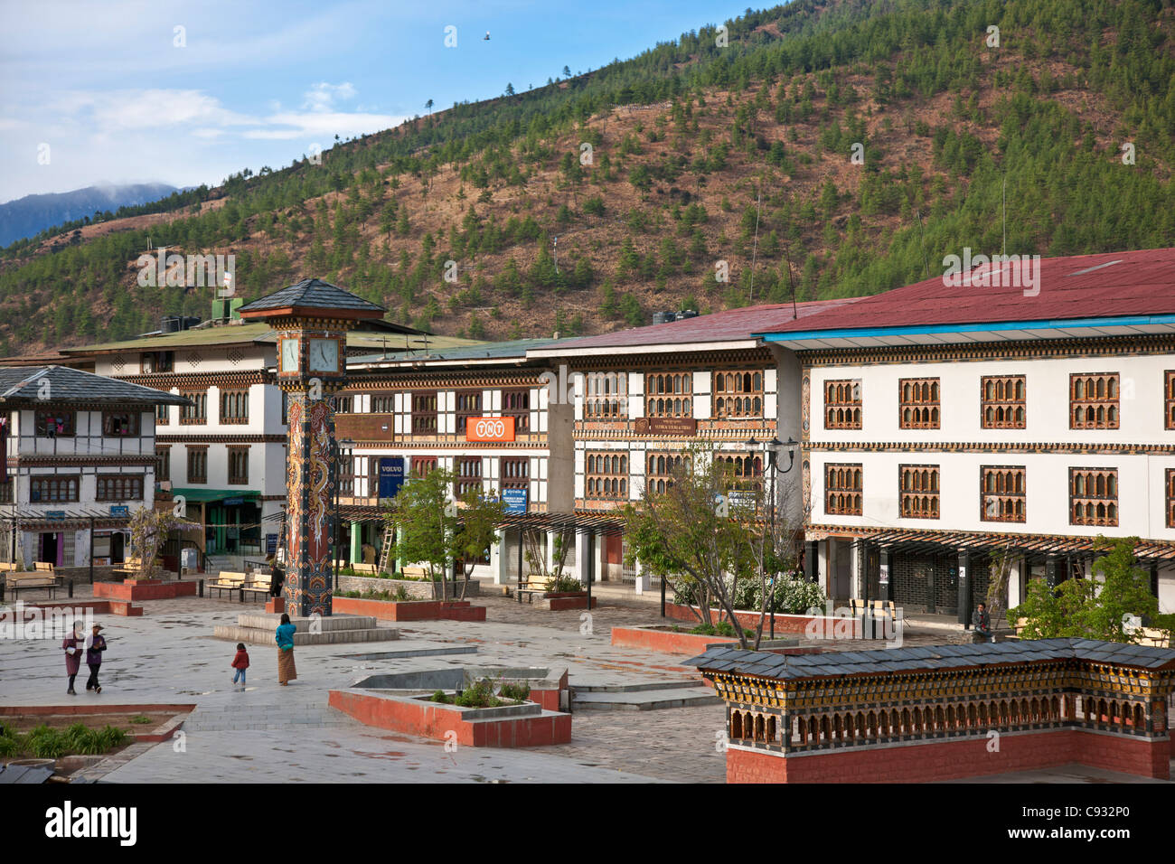 The attractive Clocktower Square situated in the centre of Thimphu. - Stock Image