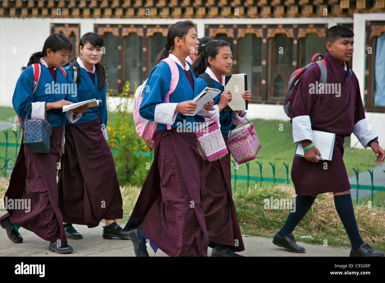 Students walking to college in Thimphu, capital city of the Kingdom of Bhutan. Stock Photo