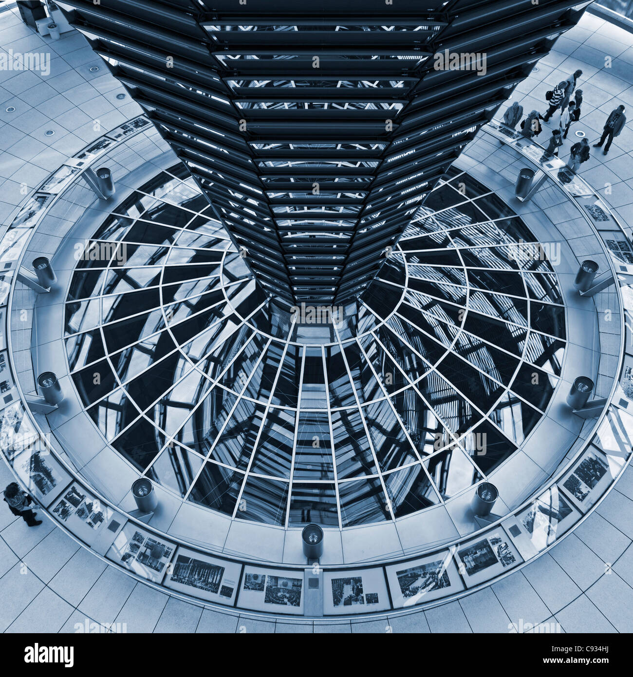 The light funnel of the Reichstag Dome in the Cupola of the Reichstag, Tiergarten, Berlin,Germany. - Stock Image