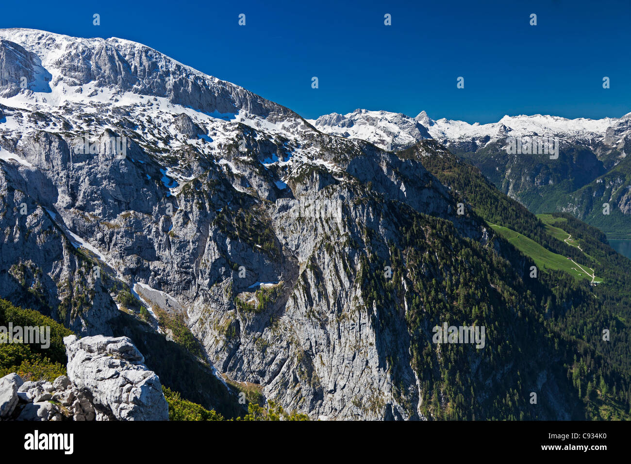 Panoramic view of the Hoher Goll Mountain,  Berchtesgaden National Park, Obersalzburg, Bayern, Germany. - Stock Image