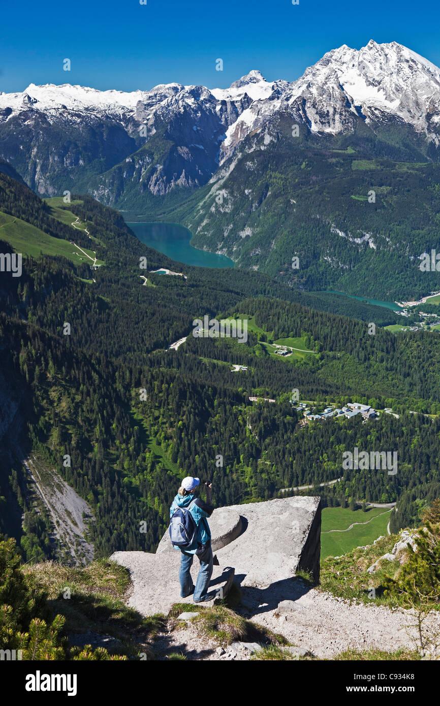 Panoramic view of the Konigsee Lake, Berchtesgaden National Park, Obersalzburg, Bayern, Germany. - Stock Image
