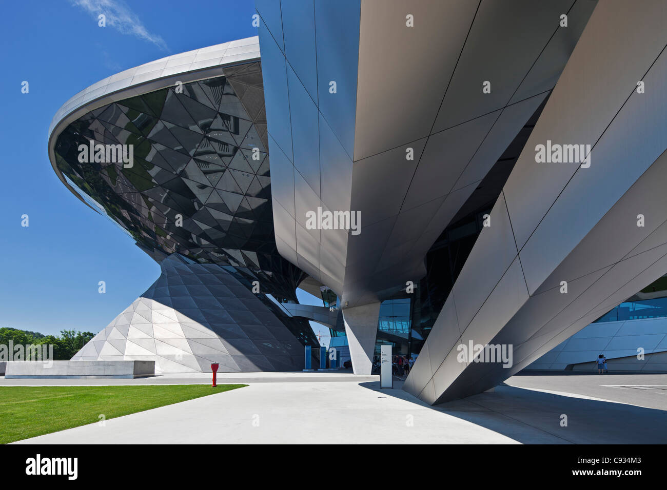 View of the main entrance to BMW Welt, a exhibition facility of the BMW Company,Munich, Bavaria, Germany - Stock Image