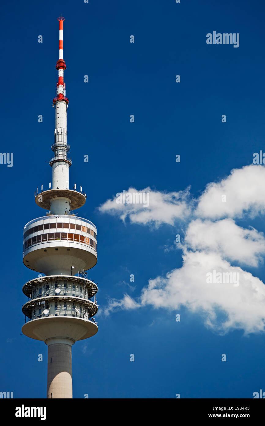 The Munich Olympic tower, Munich Olympic Park, Gern Munich, Bayern, Germany - Stock Image