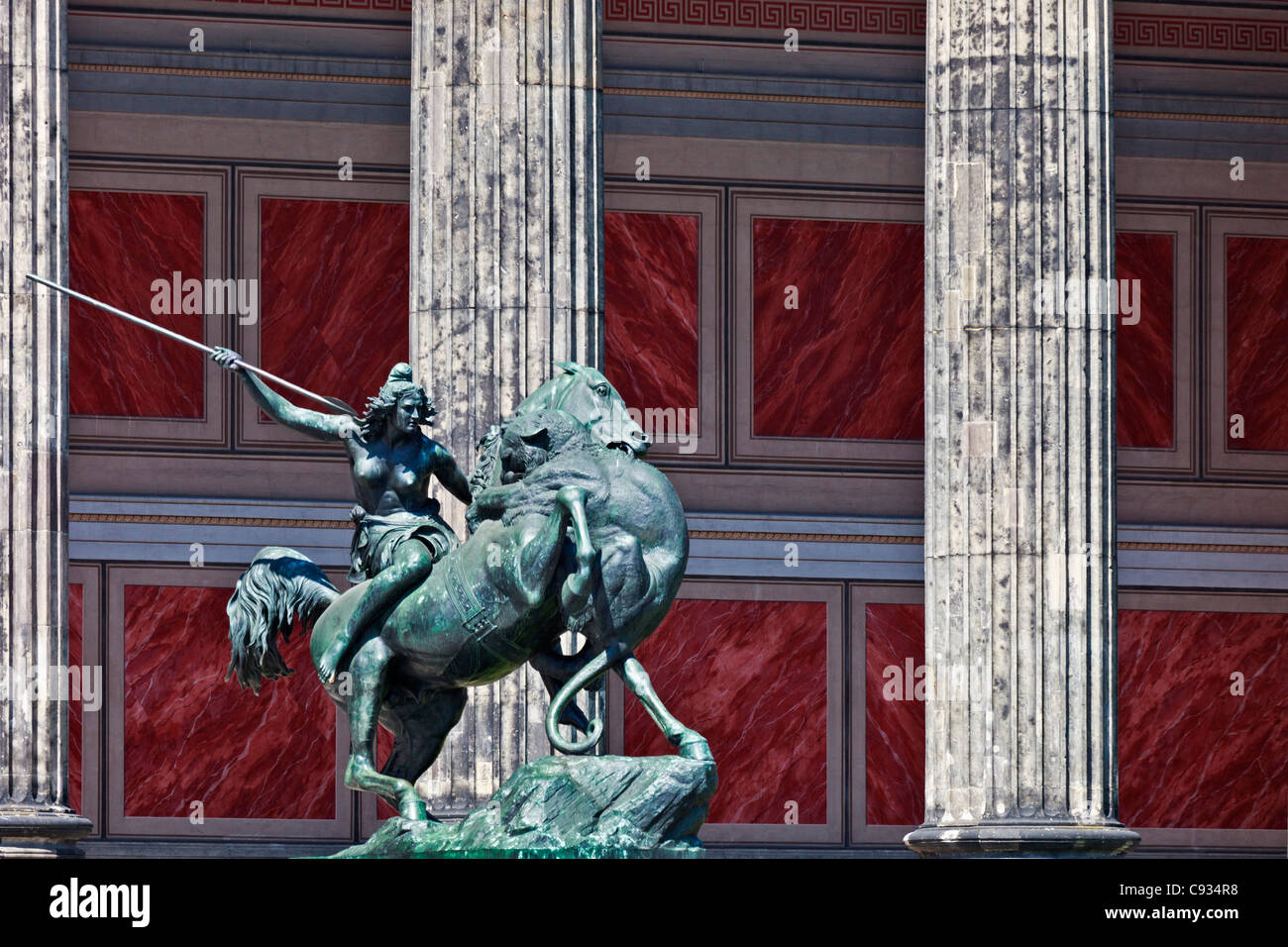 The Lion Fighter (Lowenkampfer) sculpture outside the main entrance of the Altes Museum, Museum Island, Mitte, Berlin, - Stock Image