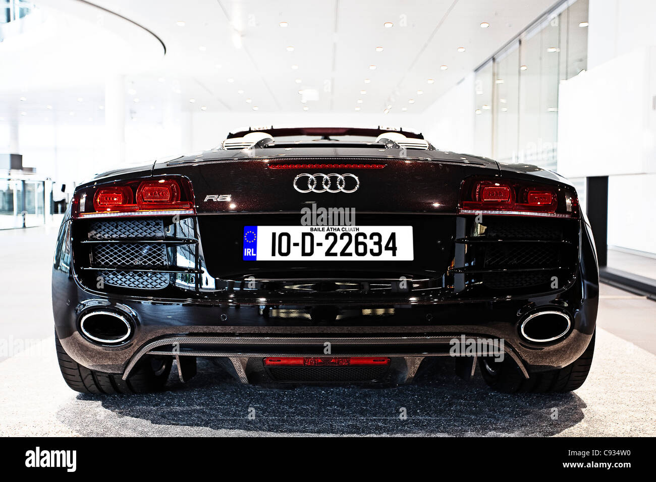 Rear View Of Audi R8 V10 Quattro Super Sports Car In The Audi Forum In  Neckarslum