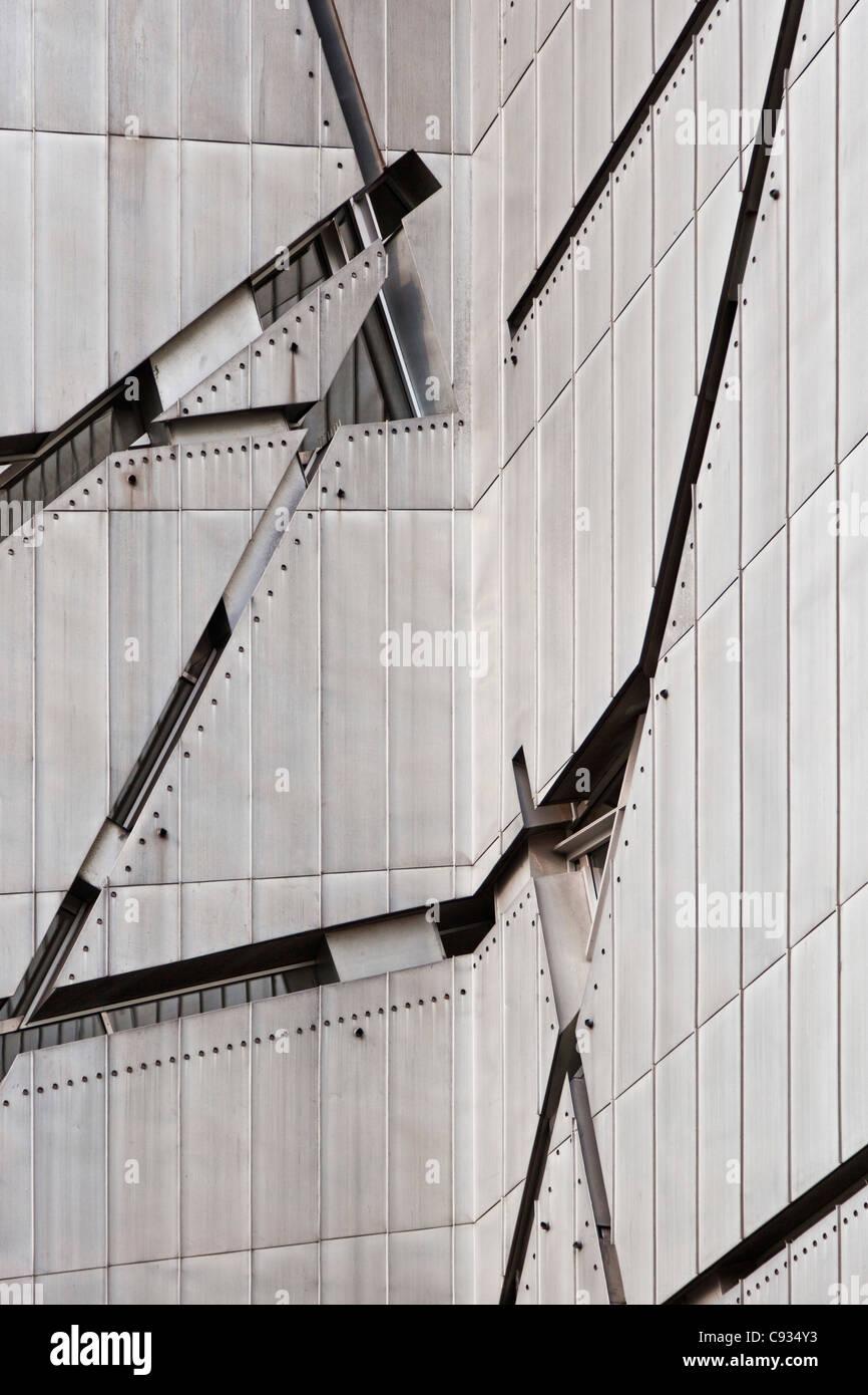 Zinc cladding and window architectural details of the Jewish Museum, Berlin, Kreuzberg, Berlin, Germany. - Stock Image