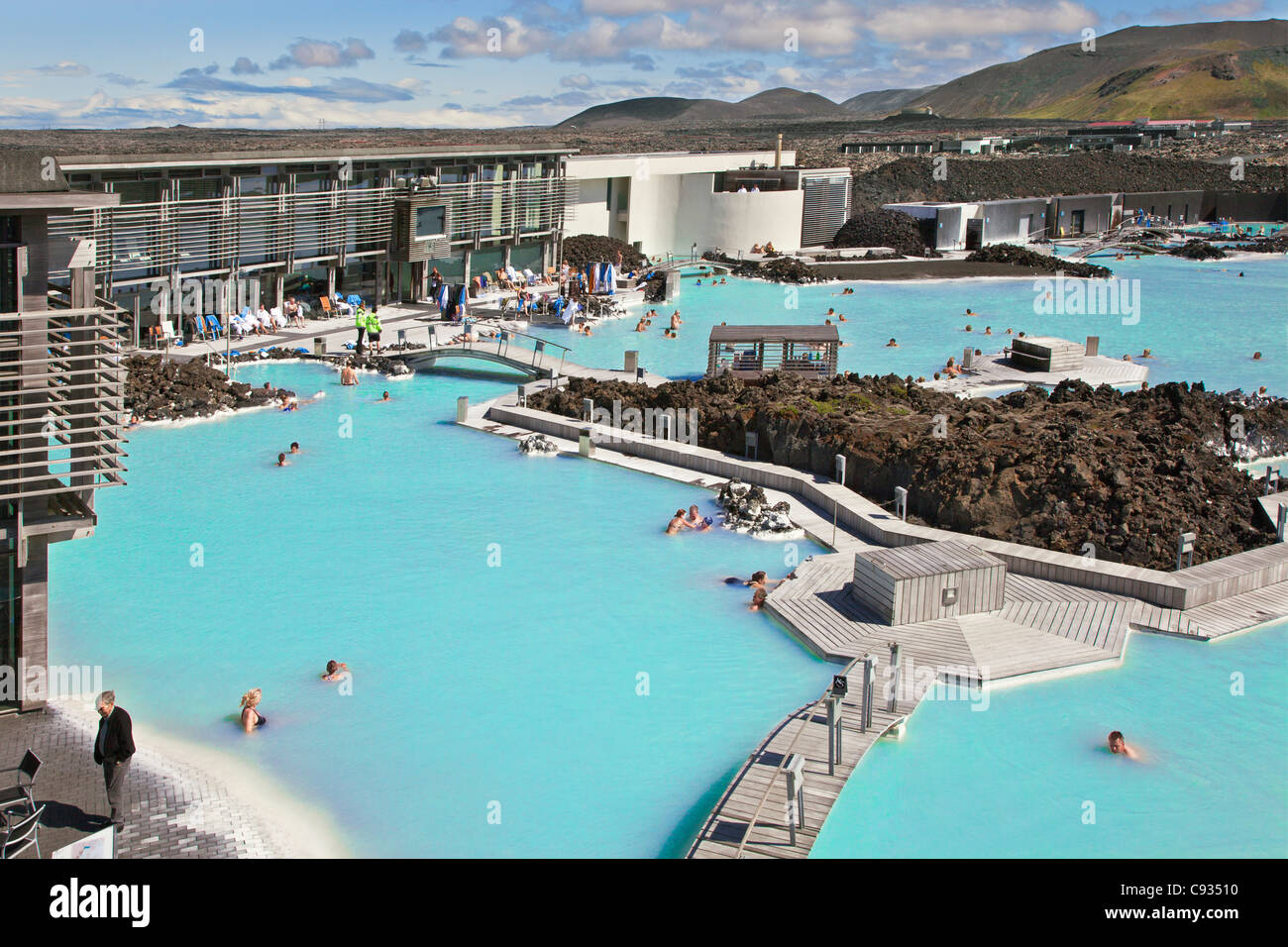 the blue lagoon geothermal spa in southwest iceland is the islands