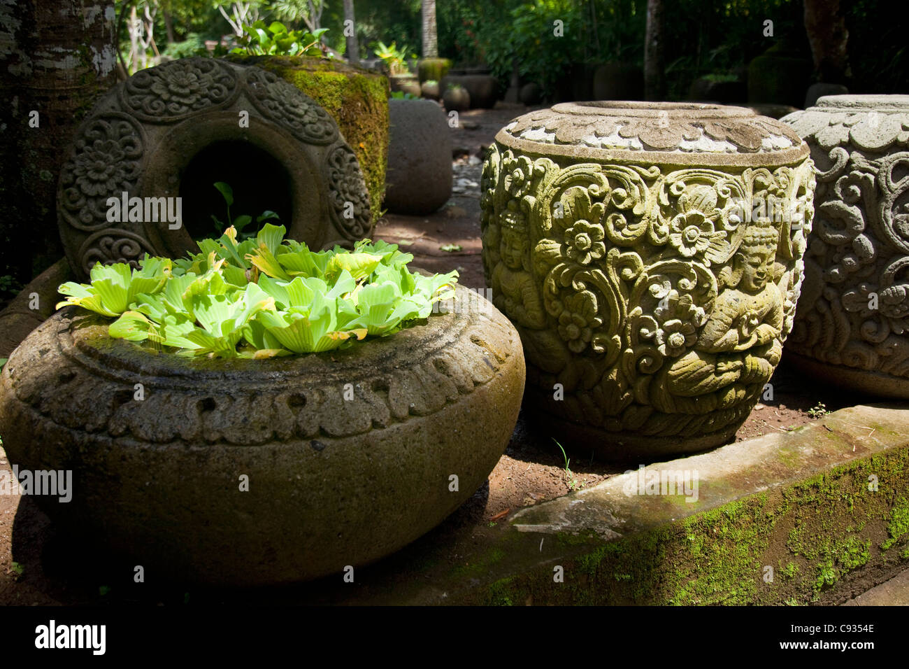 Stone carving ubud stock photos
