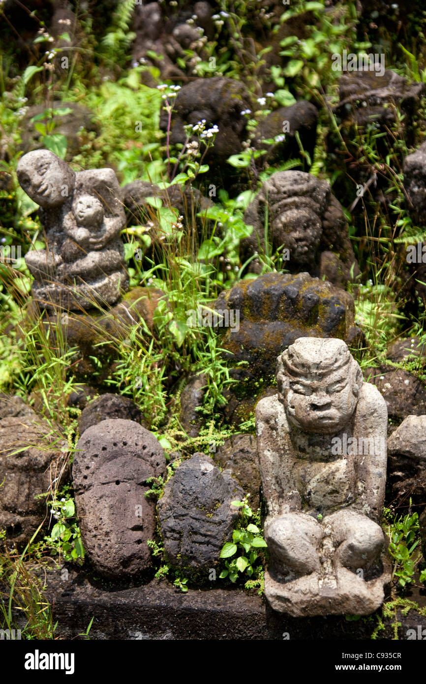 Bali, Ubud. Small granite stone carvings being gradually reclaimed by the vegetation. - Stock Image