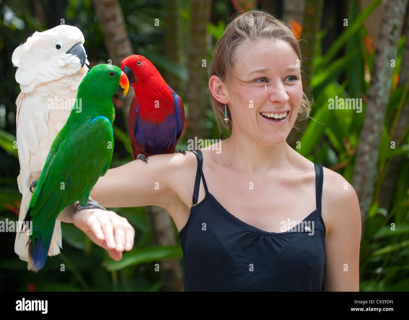 Bali, Ubud. A tourist poses with an assortment of birds at Bali Bird Park. MR - Stock Image