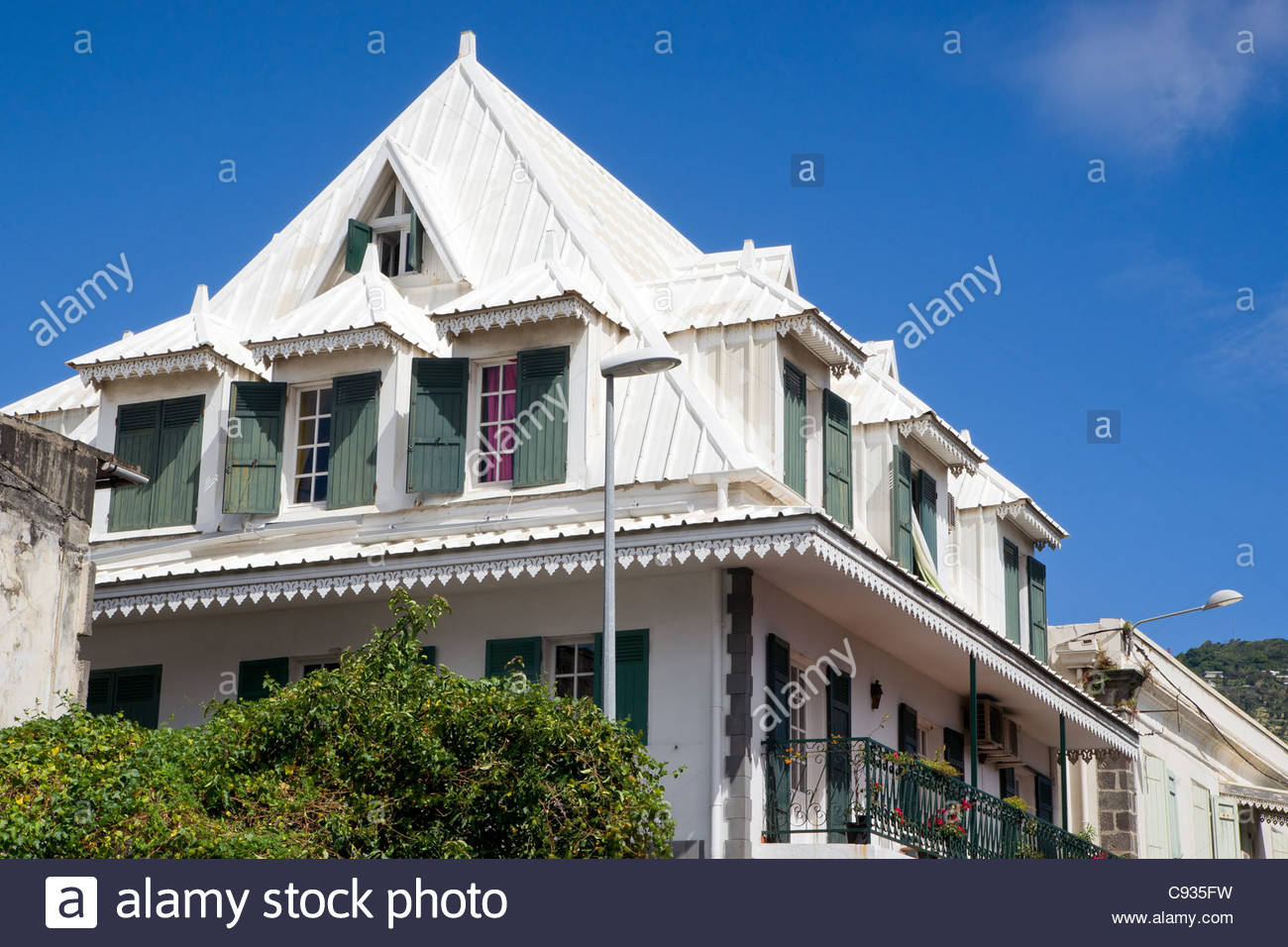 Creole house at Saint Denis on Reunion island - Stock Image