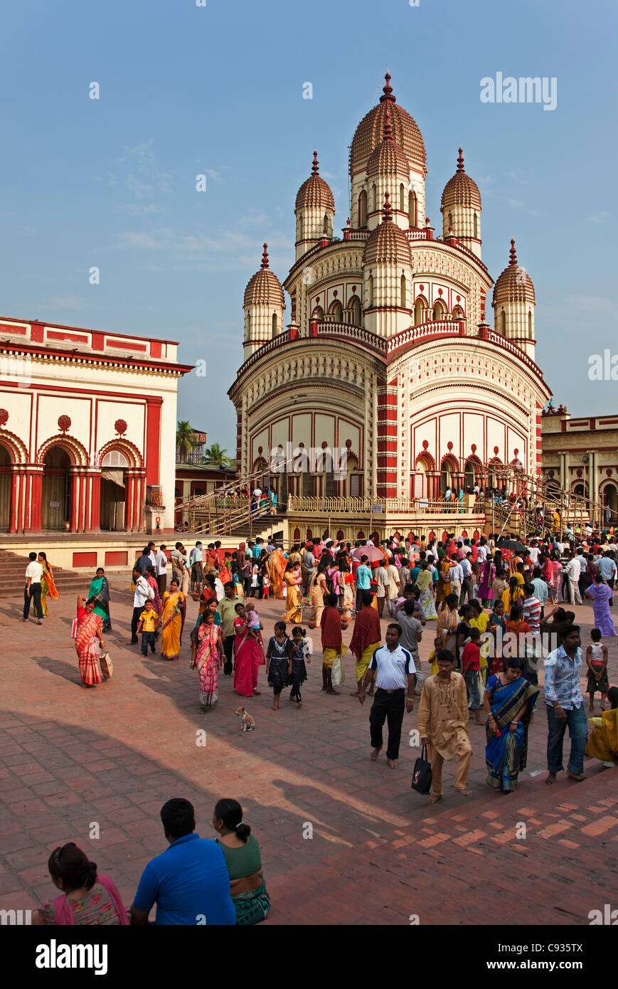 The Dakshineswar Kali Temple on the outskirts north of Kolkata was founded in 1855 by Rani Rashmani. - Stock Image