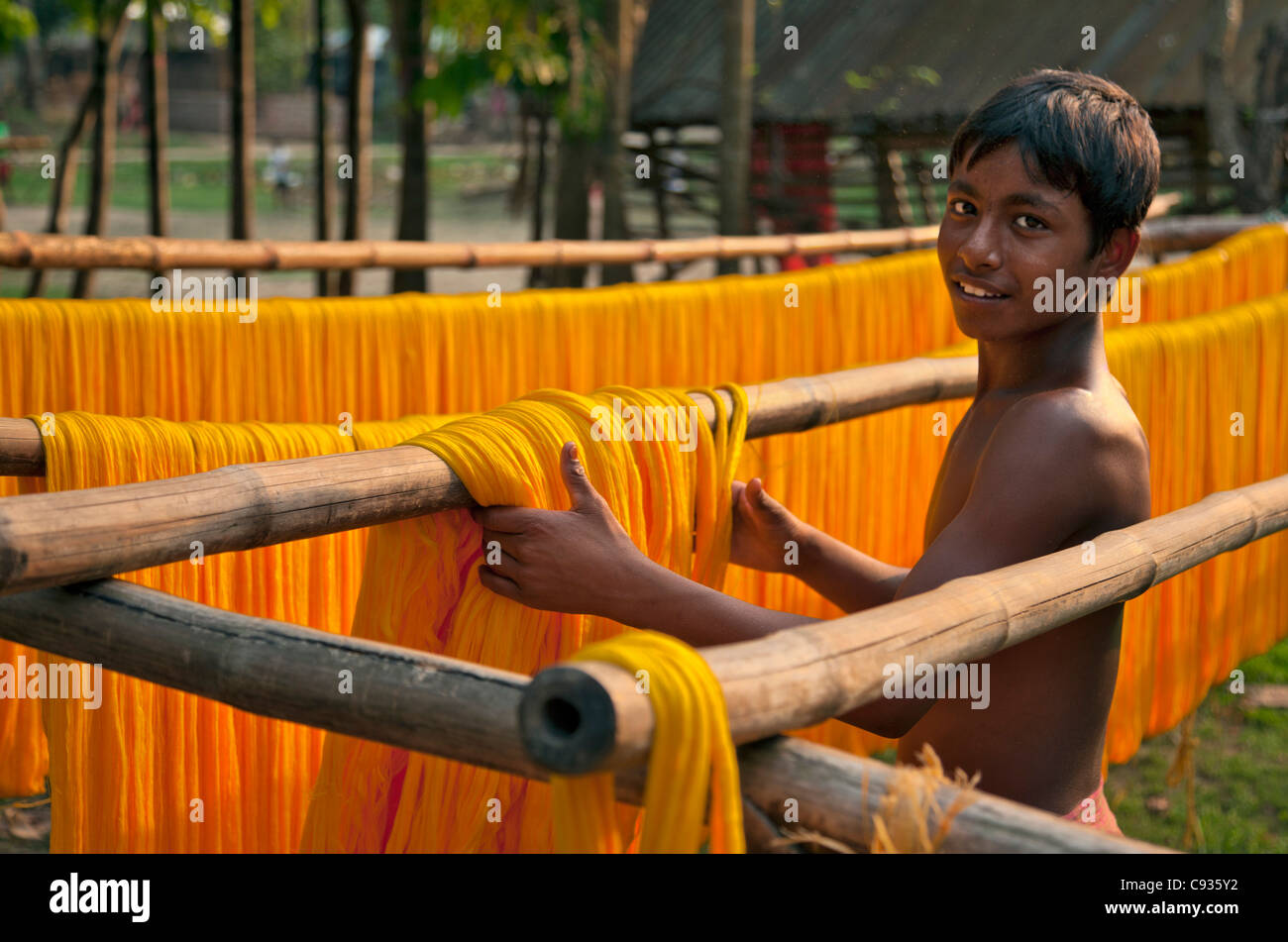 At Santipur village on the banks of the Hooghly River, a  boy gathers skeins of cotton after dyeing and drying them - Stock Image