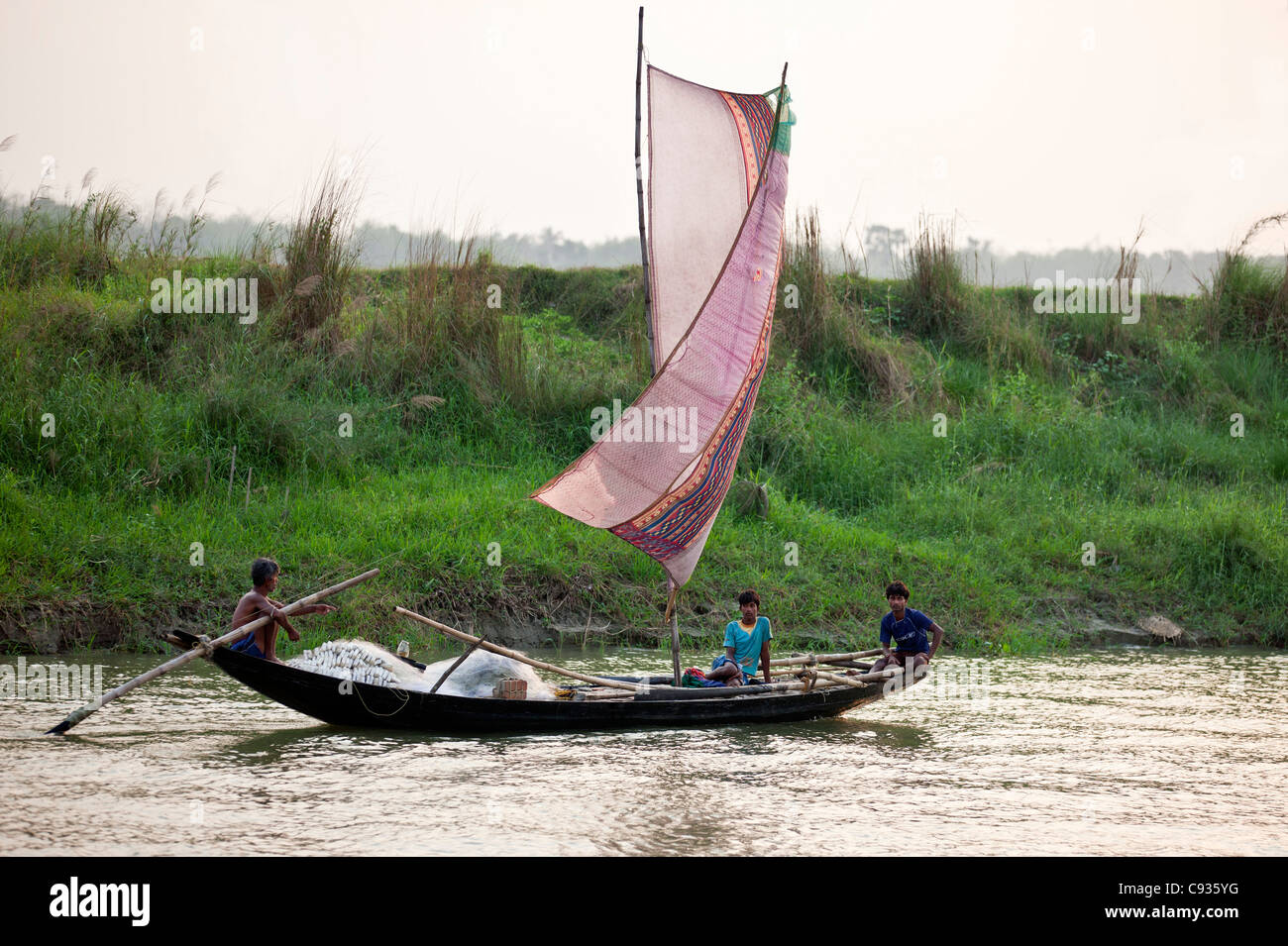 A fishing boat with an improvised sail on the Hooghly River near Kalna. - Stock Image