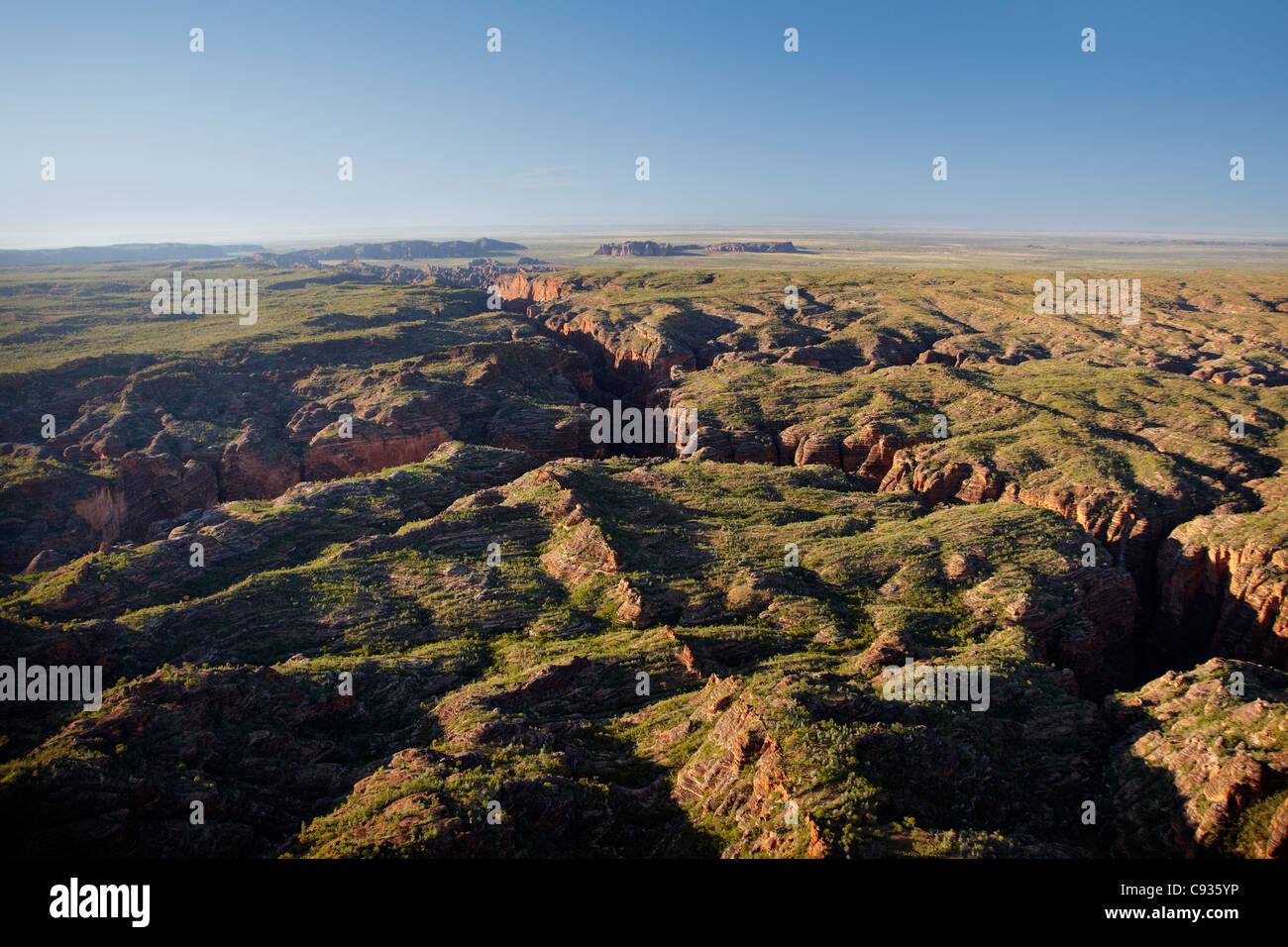 Piccaninny Gorge, Bungle Bungles, Purnululu National Park, Kimberley Region, Western Australia, Australia - aerial Stock Photo