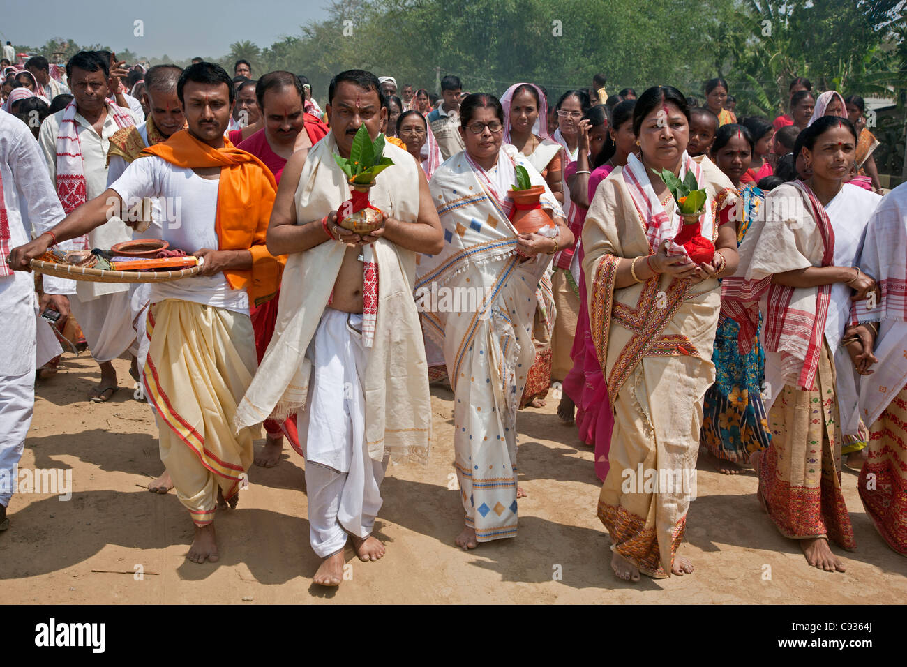 A Hindu religious procession to celebrate the opening of a new Shiva Temple at Raha, Nagoan. - Stock Image